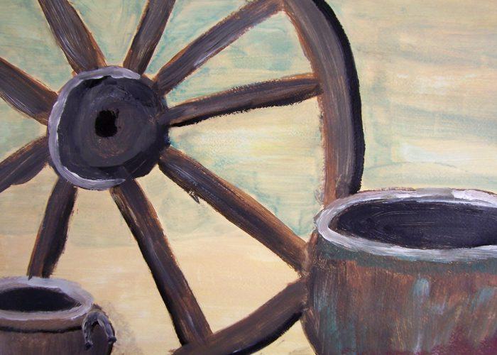 stilleven met wagenwiel