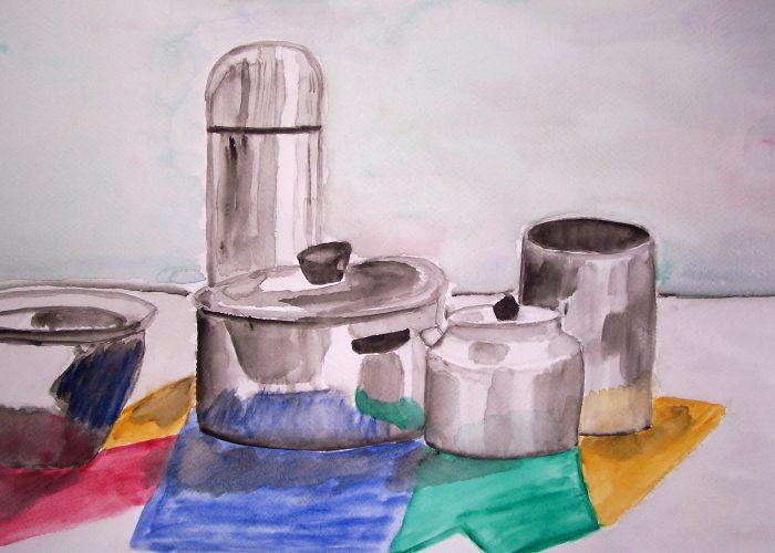aquarel zilveren potten