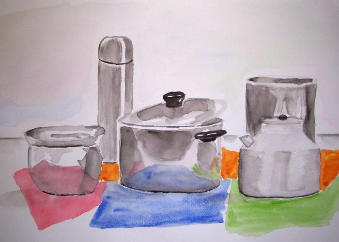 les 3 aquarel zilveren potten